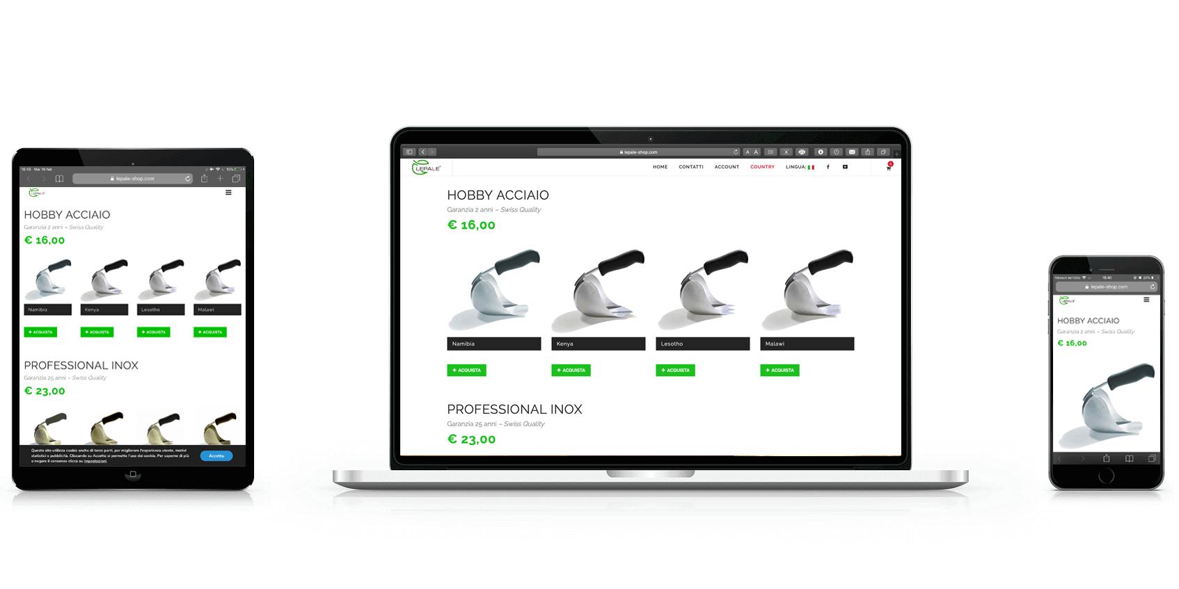 Sviluppo sito E-commerce Lepale