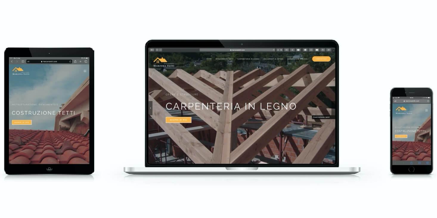Realizzazione siti web aziendali - Marzona Tetti